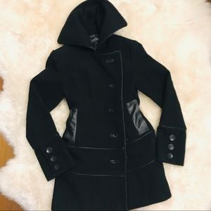 Wool Winter Coat with Vegan Leather Size XS